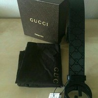 Men Gucci GG Black Leather Belt 38
