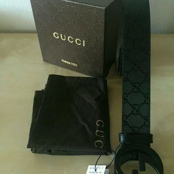 HOT!!!Authentic Gucci Belt Black Guccissima Double G Leather Belt