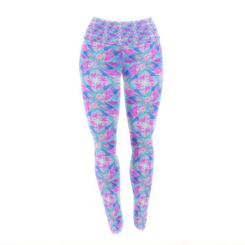 "Ebi Emporium ""Seeing Stars"" Blue Pink Yoga Leggings"