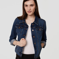Petite Denim Jacket in Dark Classic Indigo Wash | LOFT