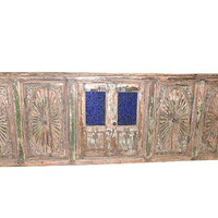 Architectural Antique Carved Terrace Window Doors 18c SUN bLEACHED Mediterranean Boho Shabby Chic Interiors