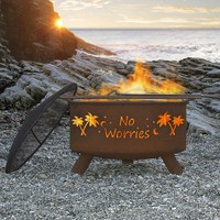 "Patina ""No Worries"" 31 Inch Fire Pit with Grill and FREE Cover 