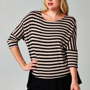 Plus Size Stripe Blouse with Solid Hem - Taupe