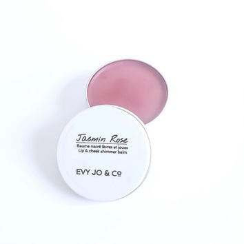Lip & Cheek Shimmer - (Jasmin Rose) Tinted Lip Balm, Natural Organic Lip Balm, Lip Tint, Lip Stain, Lip Butter, Lip and Cheek Stain
