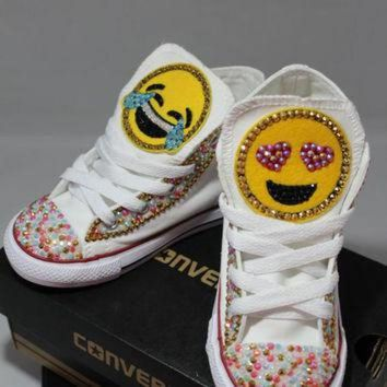 DCKL9 Girls Custom Bling Emoji Converse Sneakers-Emoji - Minnie Mouse- Hello Kitty- Frozen