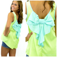 Kissepie Bow Back Tank Neon Yellow & Mint