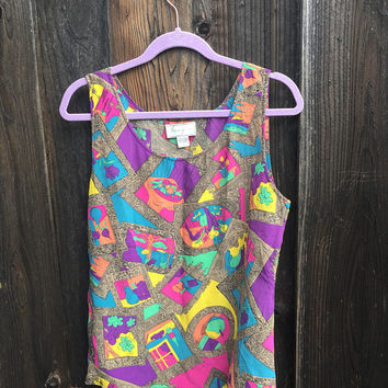 Vintage Tank Top / Spenser Jeremy Top / Geometric Neon Pattern / 100% Silk
