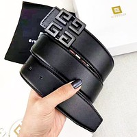 GIVENCHY Fashion Woman Men Smooth Buckle Belt Leather Belt