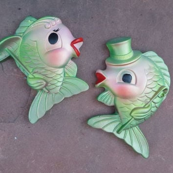 Miller Studio Chalkware Fish 1969 Green and PInk Decor Mid Century Decor