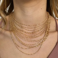 Glistening Gold Layered Choker Necklace