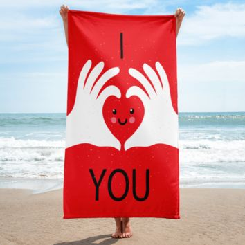 I Love You - Red Towel Made in USA - Great Valentine's Day Gift Idea