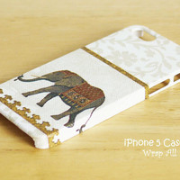 iPhone 5 case - Elephant-White /  Elephant iPhone 5 case/ iPhone case / Decoupage iphone case