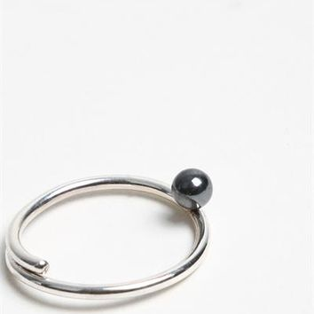 Piece A Conviction Hematite Moon Ring