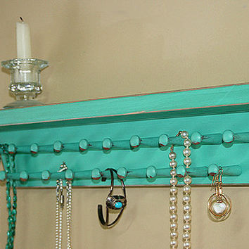 Jewelry Storage Holder Necklace Shelf Bracelet Necklace Organizer Vintage Green Turquoise Wall Shelf  Jewelry Holders
