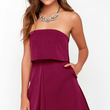 Keepsake Keep Watch Burgundy Strapless Dress