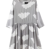 Grey Cloud Printed Pocket Detail Mini Dress