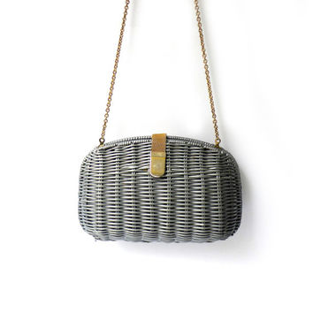 Vintage grey plastic cane wicker shoulder bag purse
