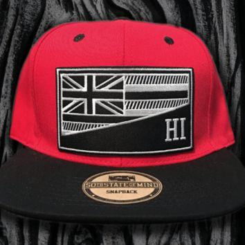 "50th State ""HI Flag"" Red Snapback Hat"
