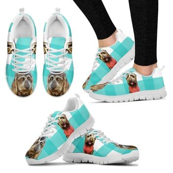 Brown Labradoodle Print Sneakers For Women(White)- Free Shipping