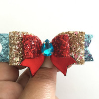 Elena of Avalor inspired glitter hair bow headband,turquoise red and light gold glitter bow, Baby girl Headband, Birthday bows, leather bows