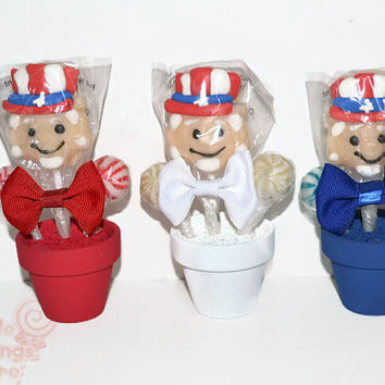 Mini Uncle Sam Patriotic Lollipop Favors, Patriotic Candy Favors, July 4th, Memorial Day, Uncle Sam Favors, Mini Lollipop Arrangement