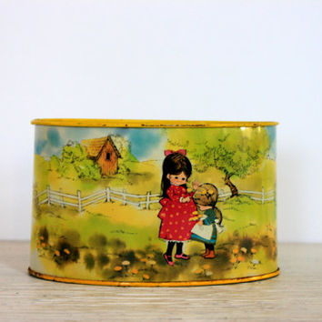 vintage mail holder letter container // tin litho // metal desk accessory // retro office organization // signature art Laura
