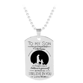 My Son Tag Letter Print GIft Necklace Fashion Hot Sell Mother son Pendant Necklace Nameplated Necklace To my son gifts