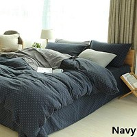 100% Cotton Muslin Yarn-dyed Plaid Bedding Set Quilt Cover Duvet Cover Bed sheet sheet Pillowcase Queen Twin 3pcs set