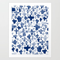 Navy Blue Crosses Art Print by Stephanie Troutner Designs