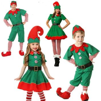 Christmas Elves Costumes Women Christmas Halloween Costume Long Sleeve Green and Red Girl Elf Dress KIDS Christmas Costume
