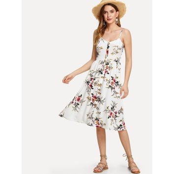 Floral Print Button Through Cami Dress