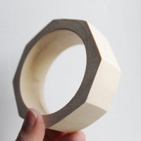 30 mm Wooden bracelet unfinished round octahedral - natural eco friendly OKT30
