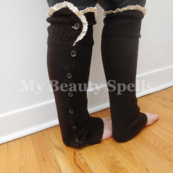 Brown Lace Boot socks button leg warmers coffee knitted boot socks trend socks legwarmers boot warmers lace trim
