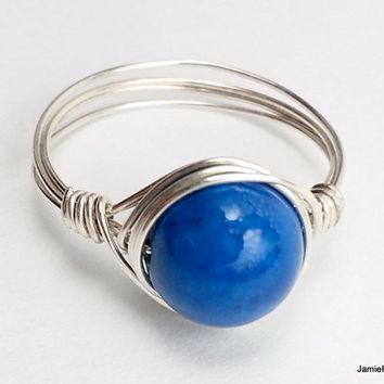 Blue Riverstone Silver Wire Wrapped Ring, Blue Gemstone Ring, Silver Wirework Boho Hippie Ring, Wedding Bridesmaid Jewelry Stone Wrap Ring