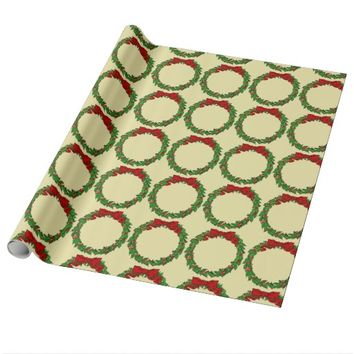 Vintage Christmas Holly Wreath with Ribbon Wrapping Paper