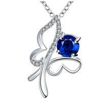 Sterling Silver Butterfly Necklace with Blue Cubic Zirconia