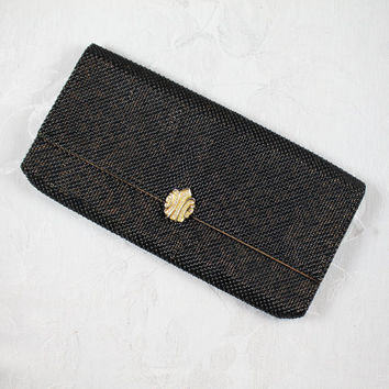 Vintage Whiting and Davis Black and Gold Mesh Rhinestone Clasp Clutch Purse