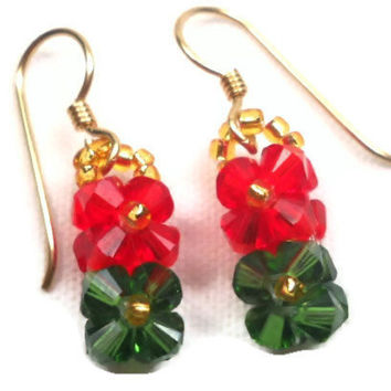 Beaded Earrings Red and Green Flower Earrings