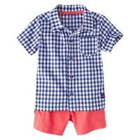 Just One You™Made by Carter's® Boys' 2 Piece Button Down Shirt and Short Set - Navy/Orange NB