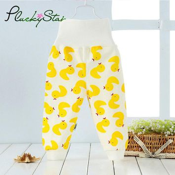 PluckyStar Cute Duck High Waist Baby Pants Soft Cotton Infant Boy Girls Trousers Lovely Print Home Pants 3-18M Baby Clothing P08