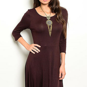 Dark Chocolate Brown Stretch Jersey Dress