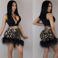 DCCKBTW LYA SKIRT SET (BLACK/GOLD)