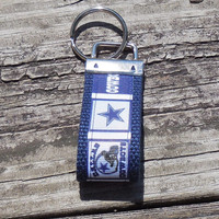 Dallas Cowboys Ribbon  Mini Key Chain Key Fob Key Ring Key Holder