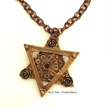 Star of David Garnet Necklace, Magen David Pendant, Bat Mitzvah Necklace