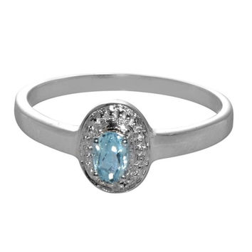 Sterling Silver Diamond Ring .01ct with Blue Topaz 3mm x 5mm Oval Gemstone