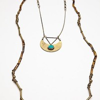 Free People Womens Beaded Layered Pendant - Teal, One