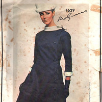 Vogue Paris Original 1629 Retro Mod Sewing Pattern 1960s Designer Dress Molyneux Princess Line Coat Jackie O Style Bust 36