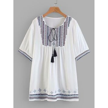 Geo Embroidered Tassel Tie Babydoll Blouse