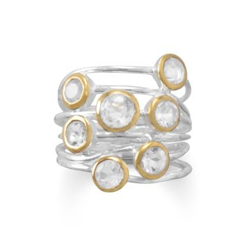 Shiny Two Tone Clear Quartz Multi-row Stacked Ring