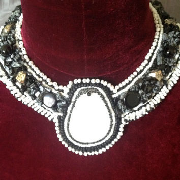 Bead Embroidered Collar - Black and White With Large White Quartz Cabachon